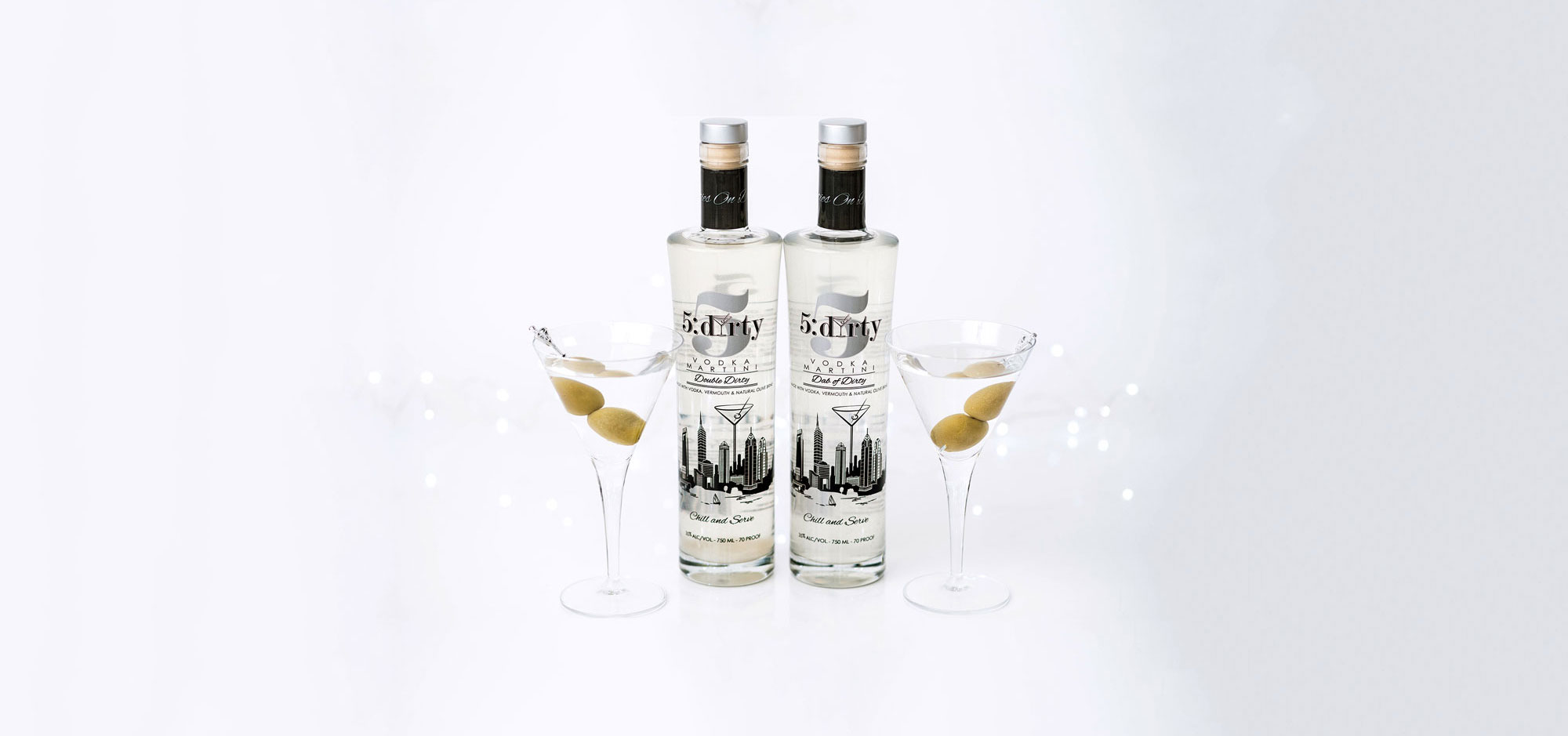 Premium pre-made dirty martinis from 5Dirty
